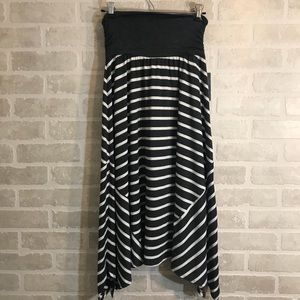 Black & White Asymmetrical Striped Skirt